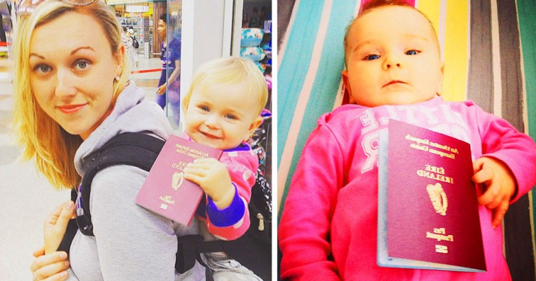 Esta pequeña niña seguramente ha viajado mas que nosotros con sólo un año de vida