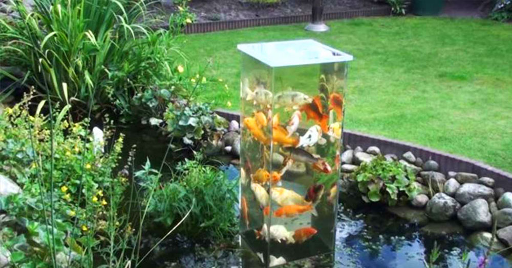 Estas espectaculares peceras se conectan con los estanques for Estanque peces jardin