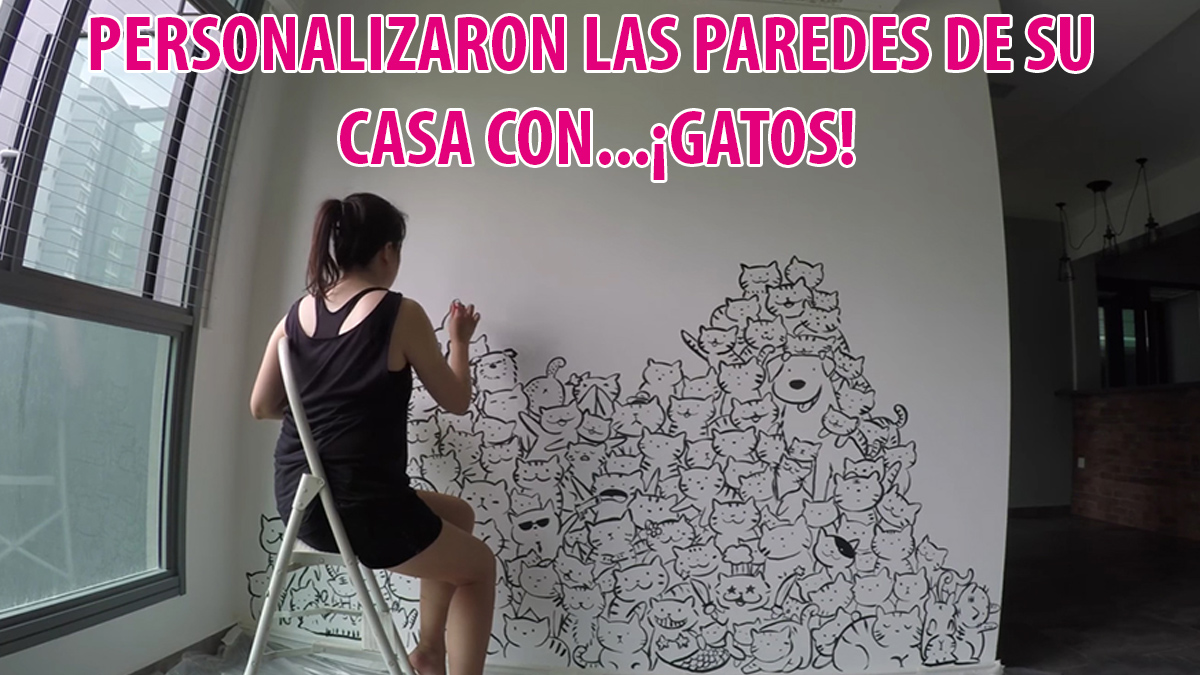 Deciden personalizar las paredes de su casa con...¡GATOS!